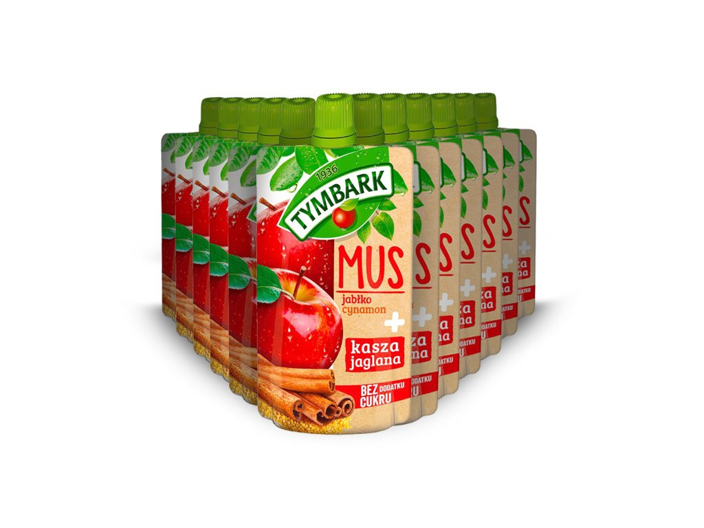 12X Mus jabłko-cynamon + kasza jaglana 100g Tymbark