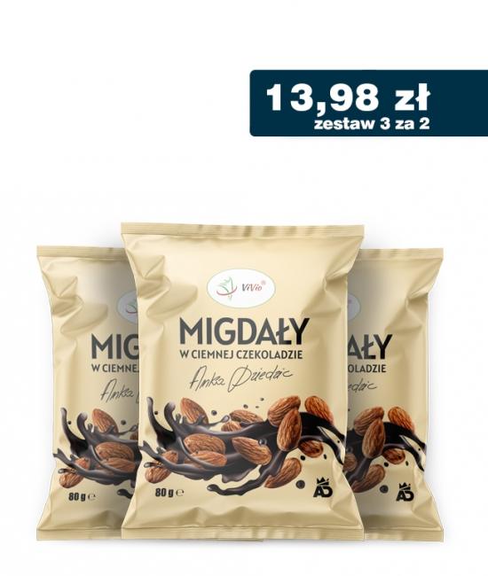 3 za 2 Migdały w ciemnej czekoladzie Anka Dziedzic 80g VIVIO