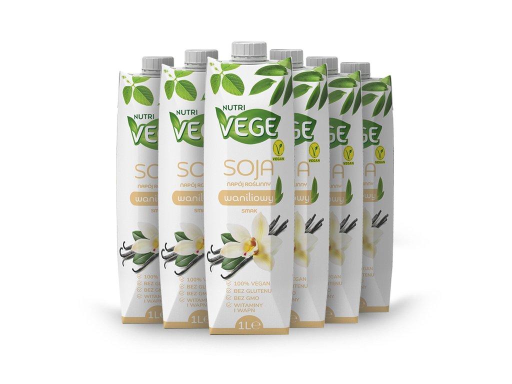 6X Wegański napój sojowy waniliowy NUTRI VEGE