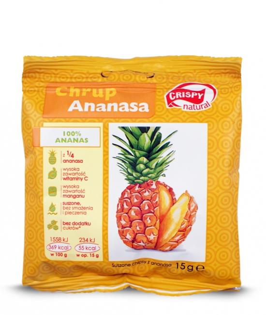 Suszone chipsy z ananasa 15g CRISPY
