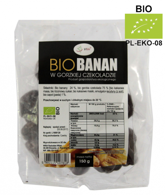 BIO Banany w gorzkiej czekoladzie 150g