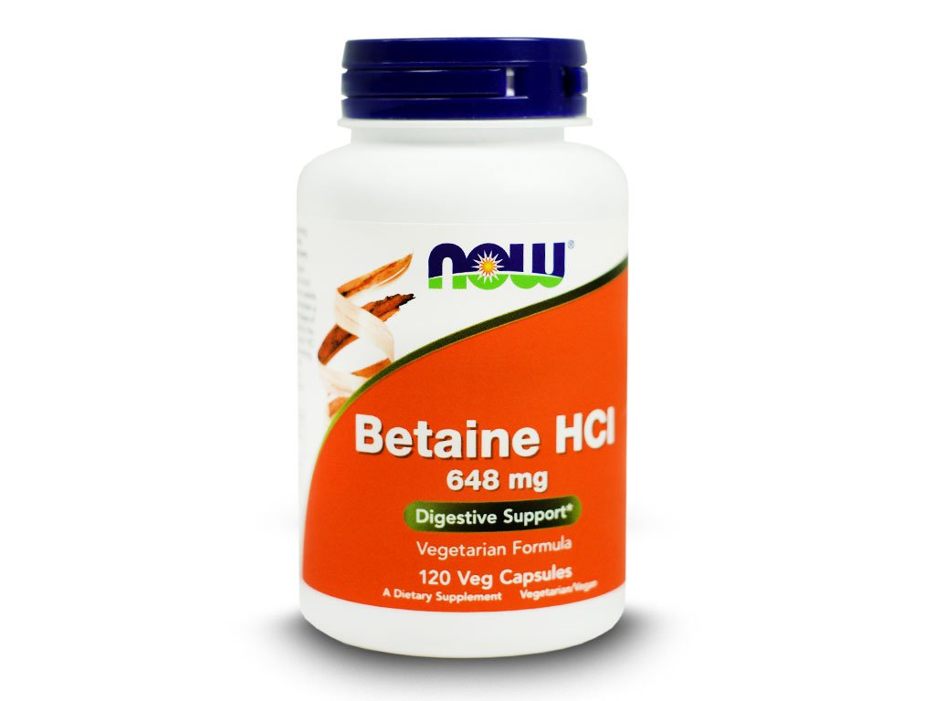 NOW - Betaine HCI 648mg 120 kapsułek