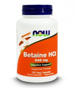 NOW - Betaine HCI 648mg 120 kapsułek