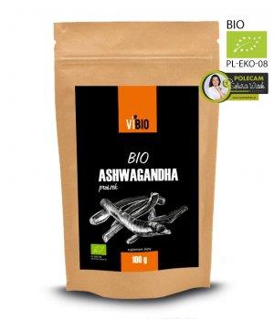 BIO Ashwaganda proszek, ekologiczna ashwaganda 100g
