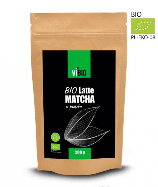 BIO Latte matcha 200g, vegan, przepis, kcal