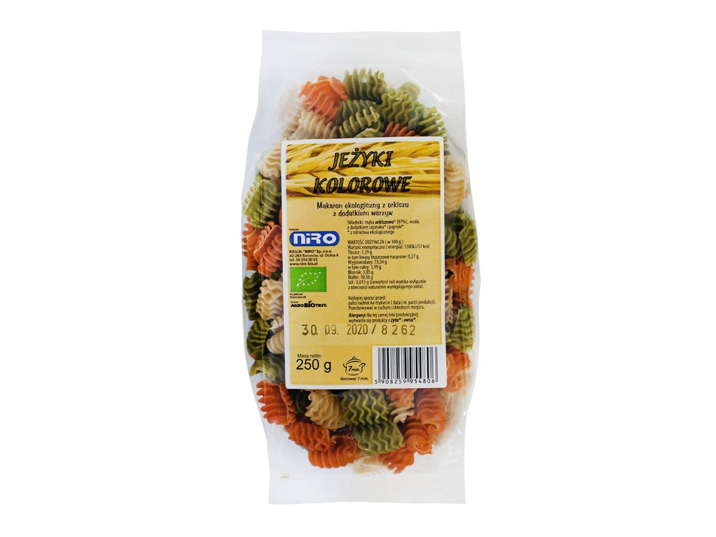 Ekologiczny makaron orkiszowy jeżyki kolorowe 250g