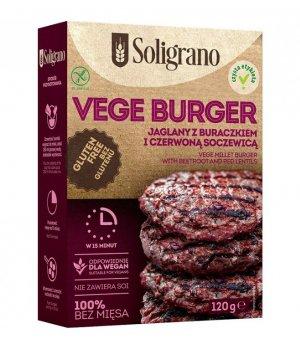 Vege Burger jaglany z buraczkiem i czerwoną soczewicą bez glutenu 120g Soligrano