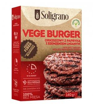 Vege Burger orkiszowy z papryką i siemieniem lnianym 140g Soligrano