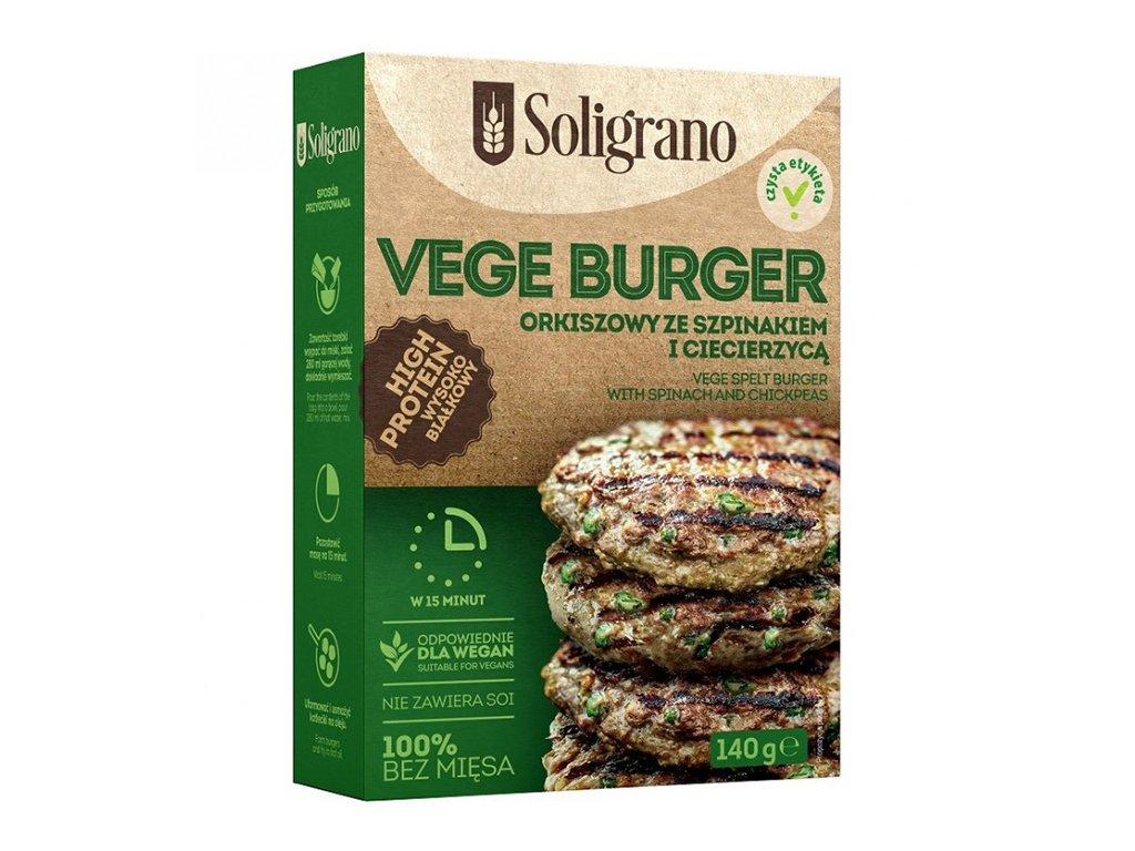 Vege Burger Orkiszowy ze szpinakiem i ciecierzycą 140 g Soligrano