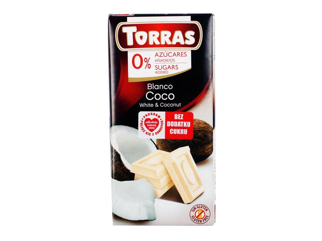 Czekolada biała z kokosem bdc 75g Torras