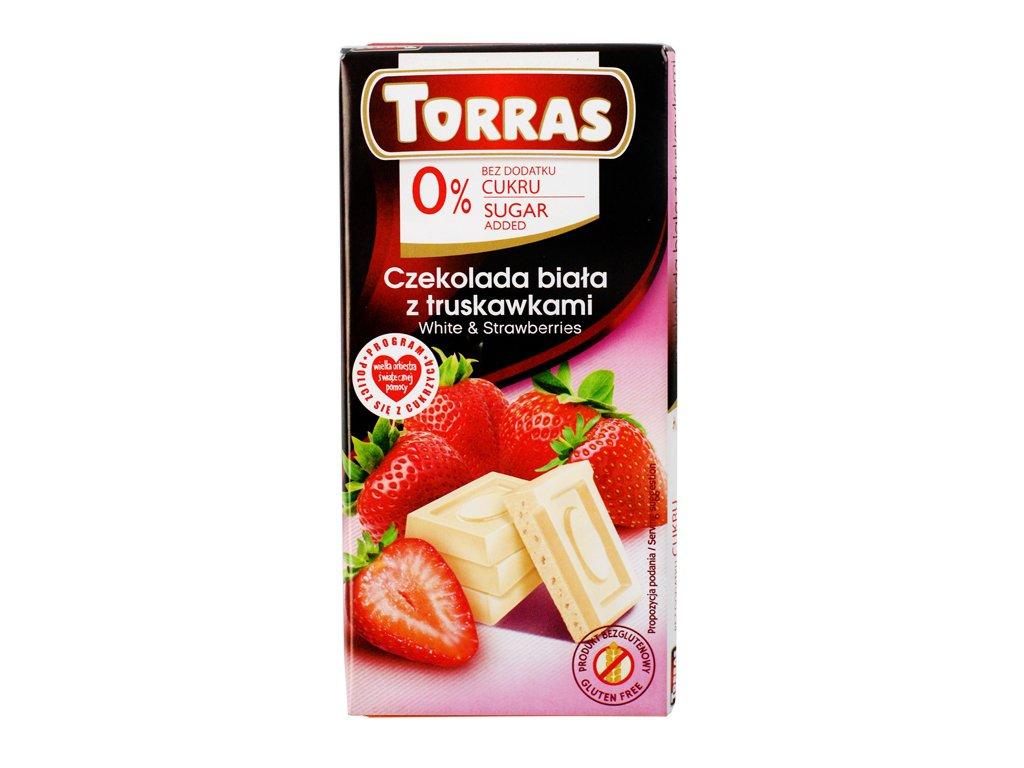 Czekolada biała z truskawkami 75g Torras