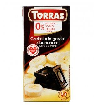 Czekolada gorzka z bananami 75g Torras
