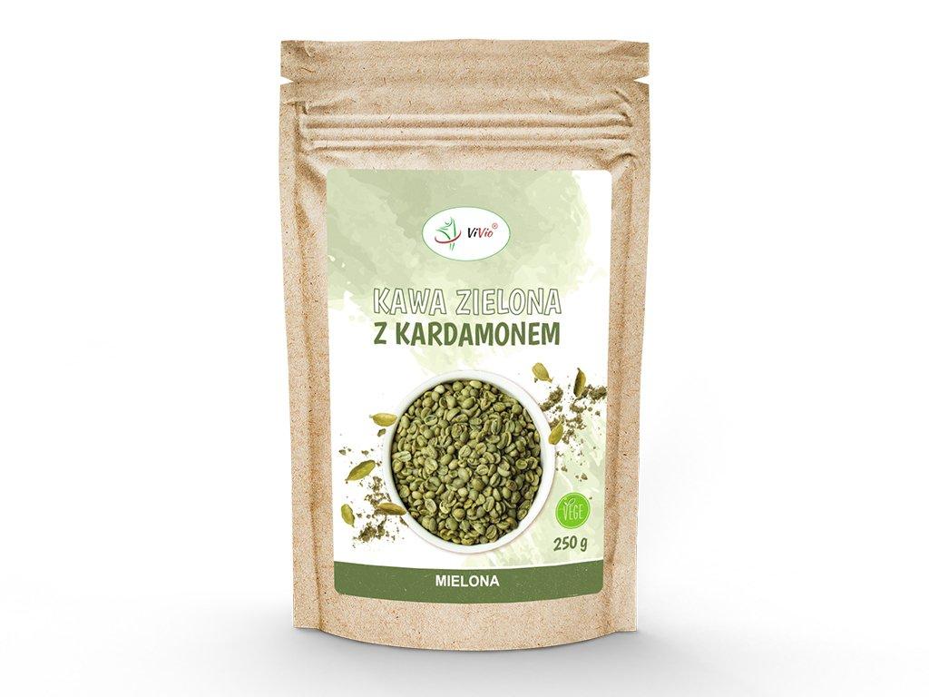 Kawa zielona mielona z kardamonem 250g VIVIO, kawa zielona kcal, kawa z kardamonem