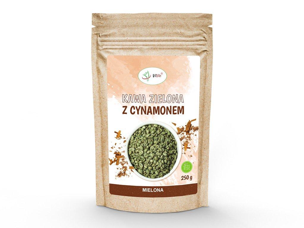 Kawa zielona mielona z cynamonem 250 g VIVIO, kawa zielona na prezent, kawa zielona kcal