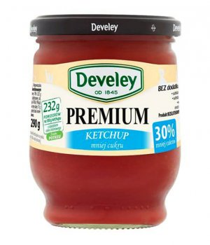 Ketchup premium mniej cukru słoik 290g Develey