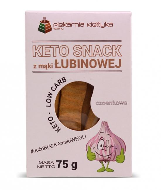 Keto snack z mąki łubinowej czosnkowe 75g Kiełtyka