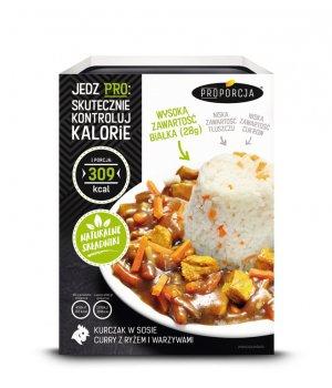 Kurczak w sosie curry z ryżem i warzywami 300g