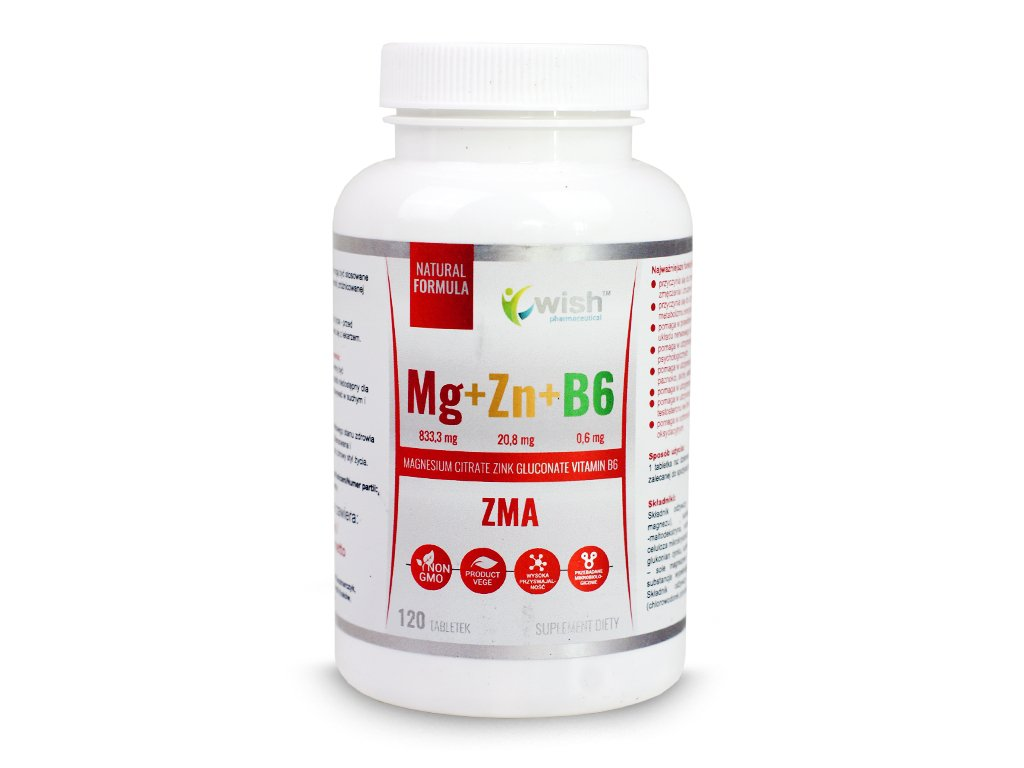 Magnez+Cynk+witamina B6 - 120 kapsułek WISH
