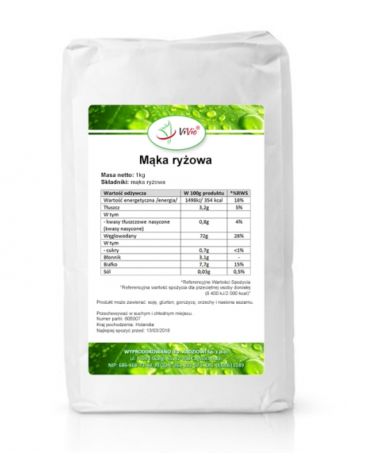 Mąka ryżowa cena, zastosowanie właściwości