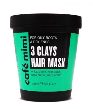 Maska 3 glinki do włosów 220ml Cafe Mimi