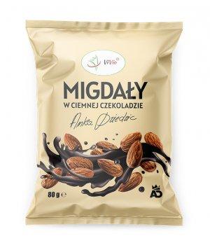 Migdały w ciemnej czekoladzie Anka Dziedzic 80g VIVIO, migdały w czekoladzie właściwości, cena