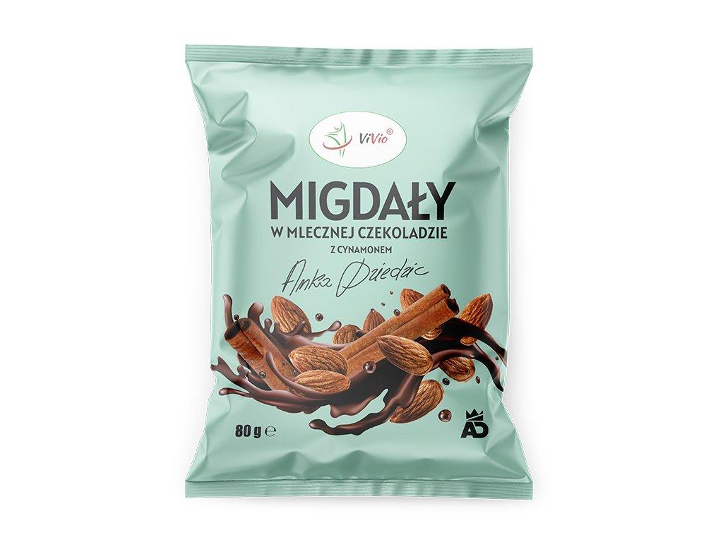 Migdały w mlecznej czekoladzie z cynamonem Anka Dziedzic 80g VIVIO, cena, kcal