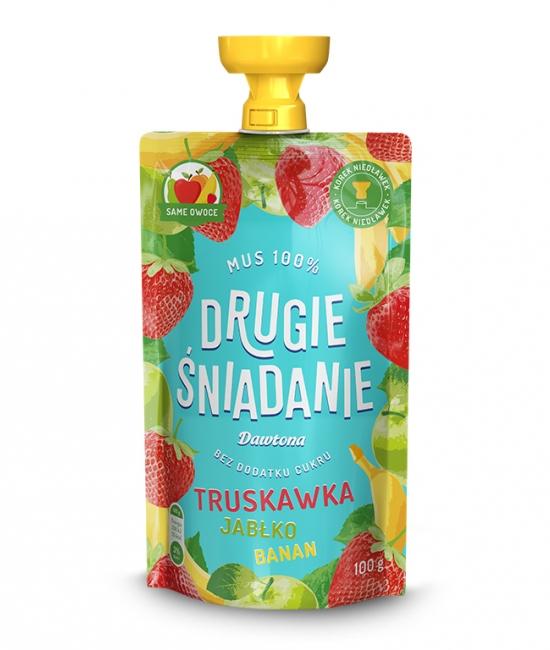 Mus owocowy-Jabłko/Banan/Truskawka 100g Dawtona