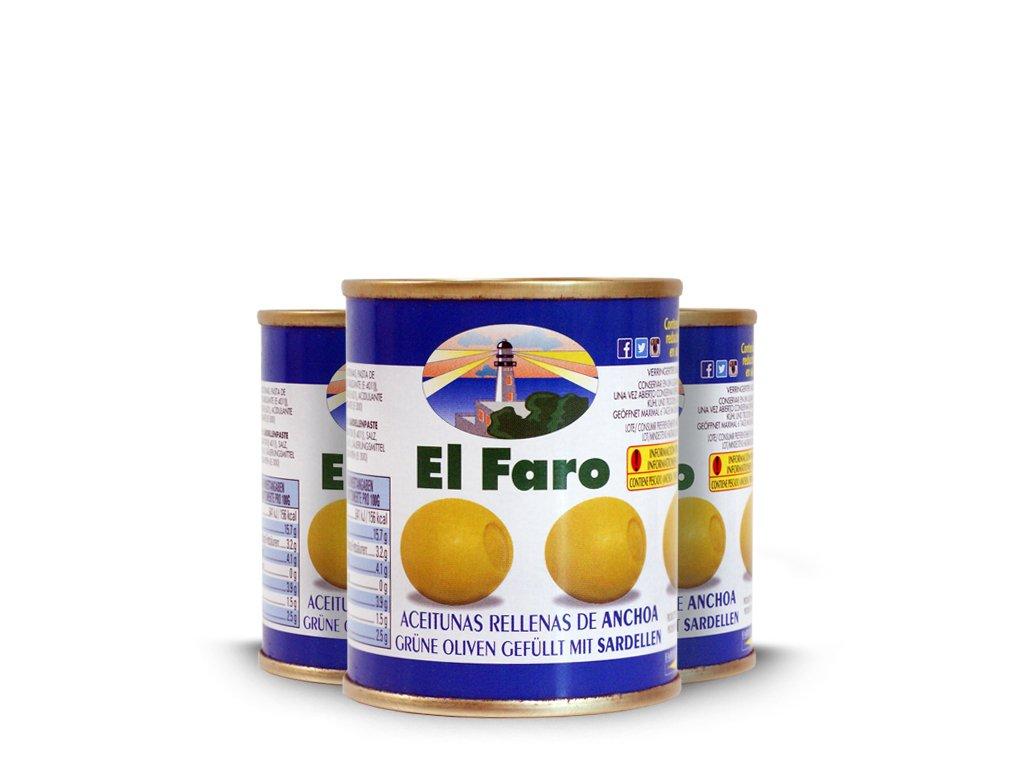 Oliwki Nadziewane Anchois El Faro 3x120g