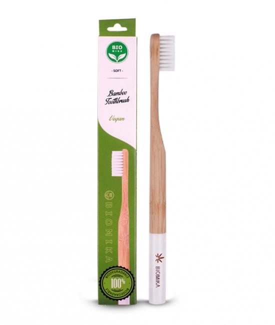 Szczoteczka do zębów bambusowa biała miękka 1 szt