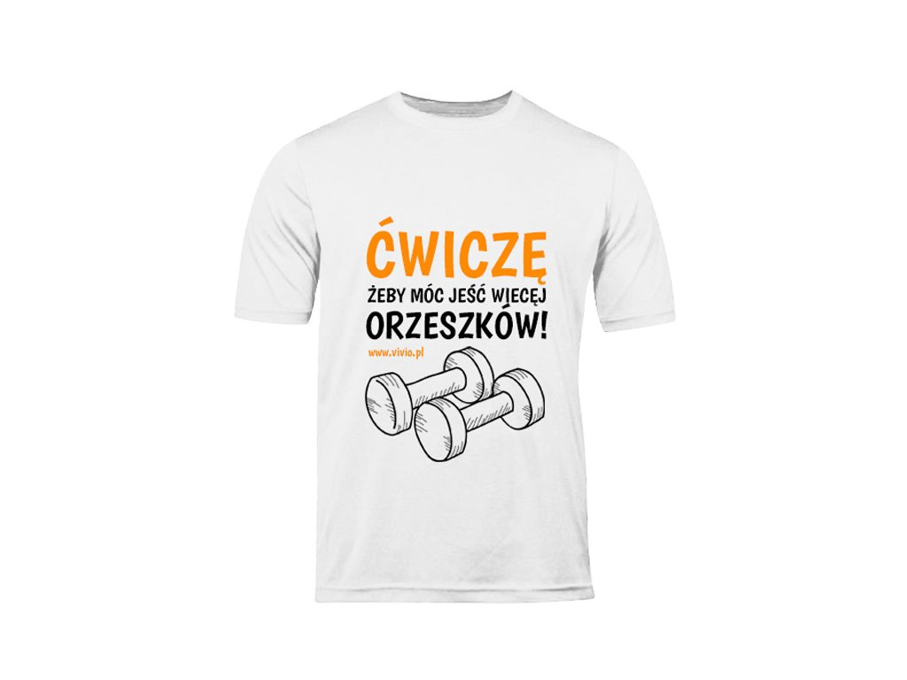 T-shirt M damski biały napis ĆŻJWO