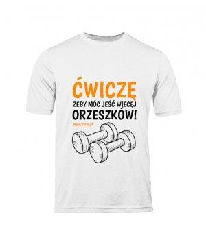 T-shirt M męski biały napis ĆŻJWO