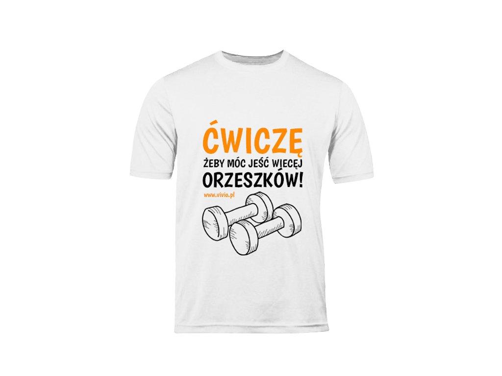 T-shirt S męski biały napis ĆŻJWO