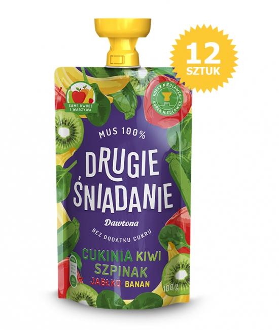 12X Mus Cukinia/Kiwi/Jabłko/Szpinak/Banan 100g Dawtona