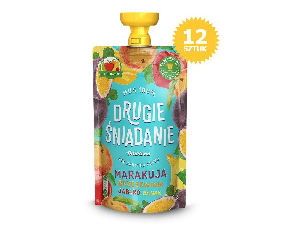 12X Mus Jabłko/Brzoskwinia/Marakuja/Banan 100g Dawtona