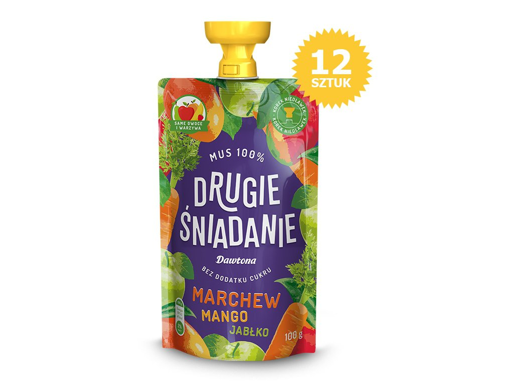 12X Mus owocowy-Jabłko/Mango/Marchew 100% 100g Dawtona