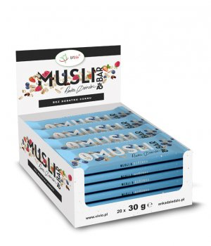 BOX 24X Baton MUSLI BAR Anka Dziedzic borówkowy 25g VIVIO