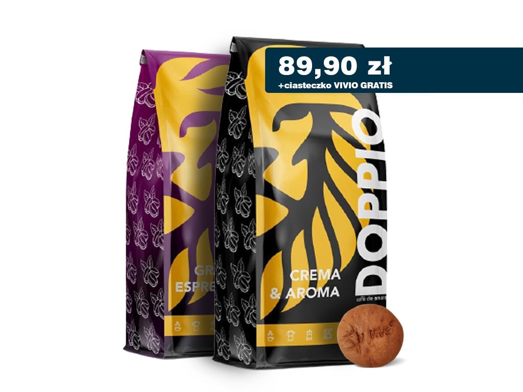 Kawa ziarnista Crema & Aroma 1kg + Grand Espresso 1kg DOPPIO + gratis