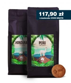 Kawa ziarnista palona Peru 1kg + Honduras 1kg + gratis