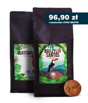 Kawa ziarnista palona Brazylia 1kg + Guatemala 1kg + gratis